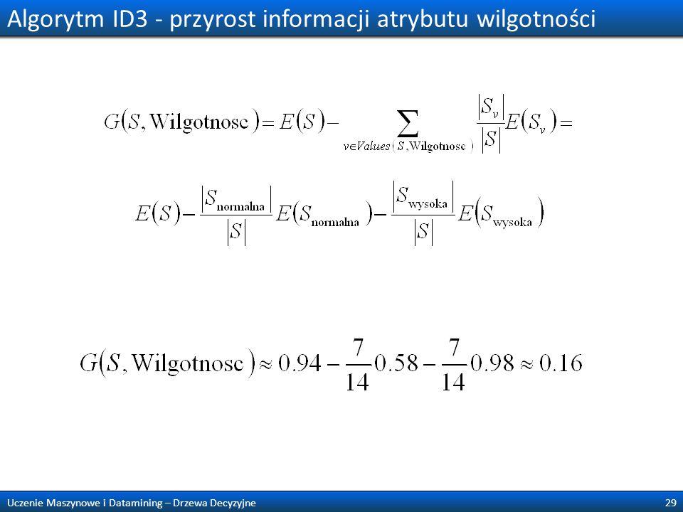 Algorytm ID3 - przyrost informacji atrybutu wilgotności 29Uczenie Maszynowe i Datamining – Drzewa Decyzyjne