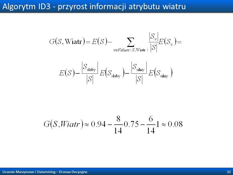 Algorytm ID3 - przyrost informacji atrybutu wiatru 32Uczenie Maszynowe i Datamining – Drzewa Decyzyjne