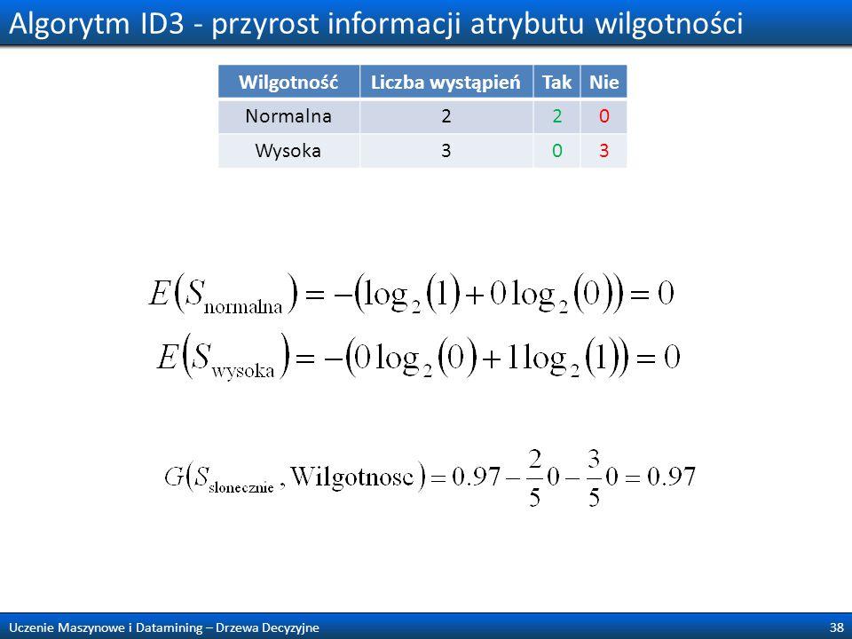 Algorytm ID3 - przyrost informacji atrybutu wilgotności 38Uczenie Maszynowe i Datamining – Drzewa Decyzyjne WilgotnośćLiczba wystąpieńTakNie Normalna2