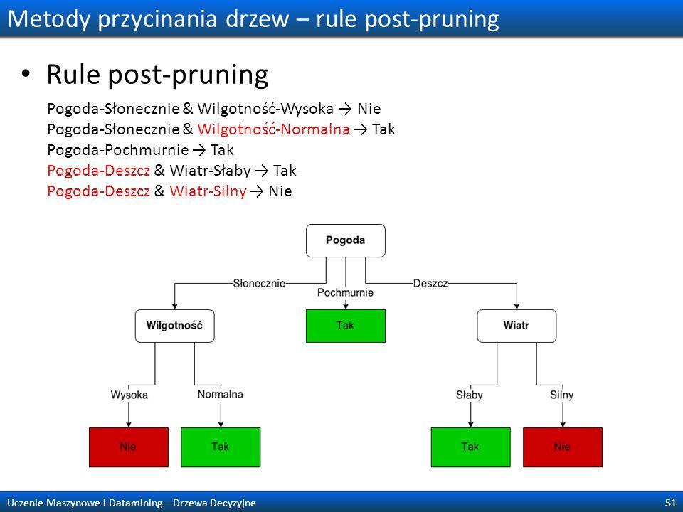 Metody przycinania drzew – rule post-pruning Rule post-pruning 51Uczenie Maszynowe i Datamining – Drzewa Decyzyjne Pogoda-Słonecznie & Wilgotność-Wyso