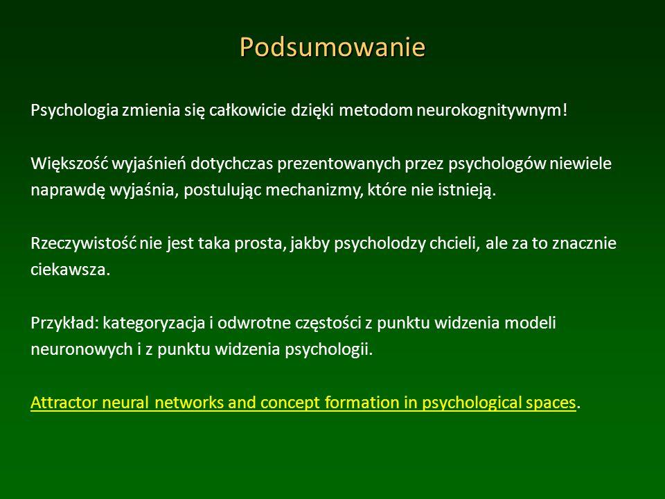 Podsumowanie Psychologia zmienia się całkowicie dzięki metodom neurokognitywnym.