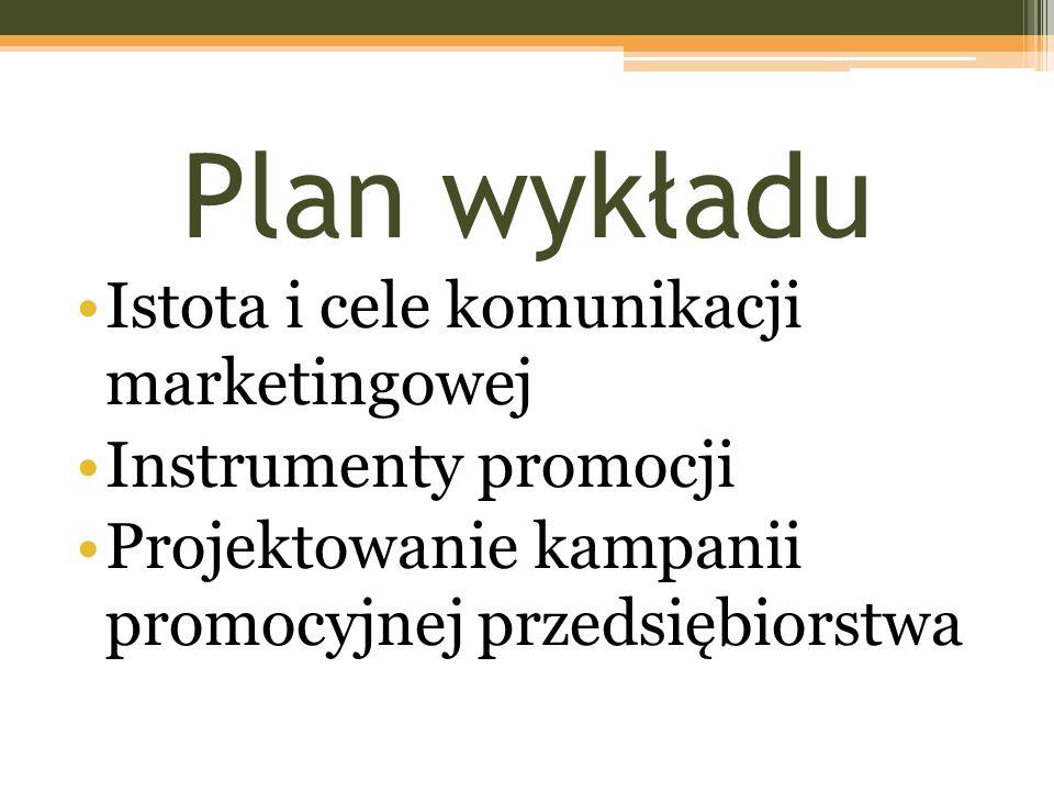 Plan wykładu Istota i cele komunikacji marketingowej Instrumenty promocji Projektowanie kampanii promocyjnej przedsiębiorstwa