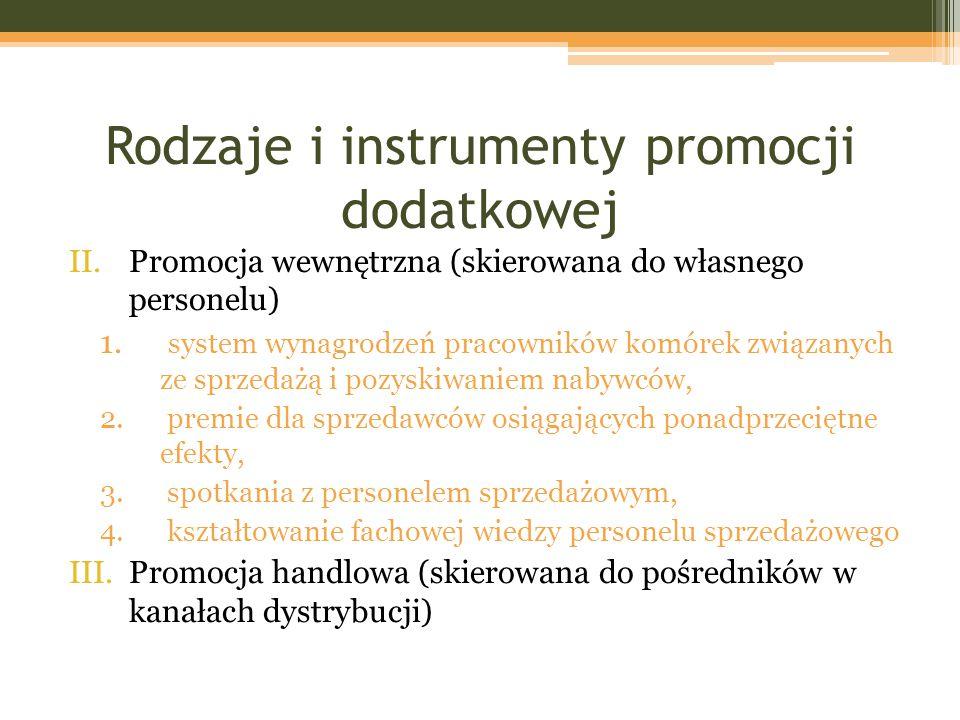 Rodzaje i instrumenty promocji dodatkowej II.Promocja wewnętrzna (skierowana do własnego personelu) 1. system wynagrodzeń pracowników komórek związany
