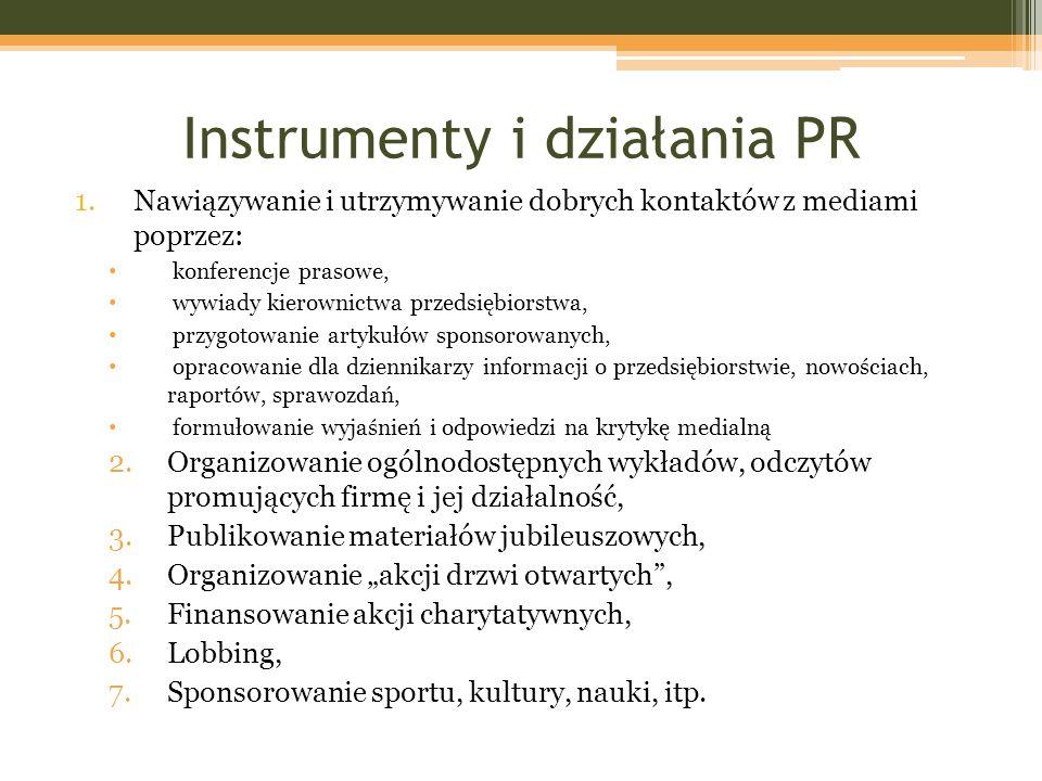 Instrumenty i działania PR 1.Nawiązywanie i utrzymywanie dobrych kontaktów z mediami poprzez: konferencje prasowe, wywiady kierownictwa przedsiębiorst