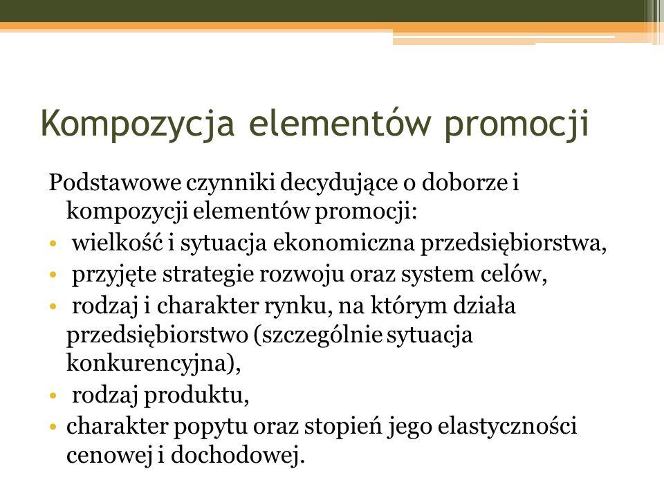 Kompozycja elementów promocji Podstawowe czynniki decydujące o doborze i kompozycji elementów promocji: wielkość i sytuacja ekonomiczna przedsiębiorst