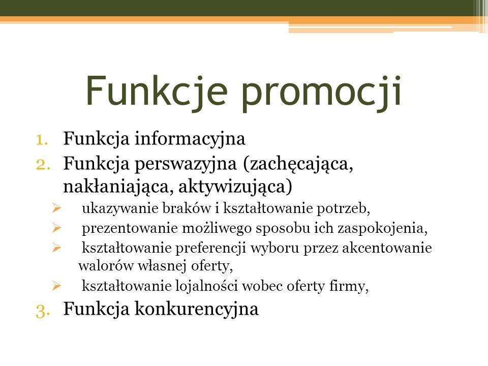 Funkcje promocji 1.Funkcja informacyjna 2.Funkcja perswazyjna (zachęcająca, nakłaniająca, aktywizująca)  ukazywanie braków i kształtowanie potrzeb, 