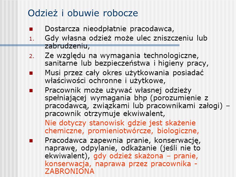 Odzież i obuwie robocze Dostarcza nieodpłatnie pracodawca, 1.