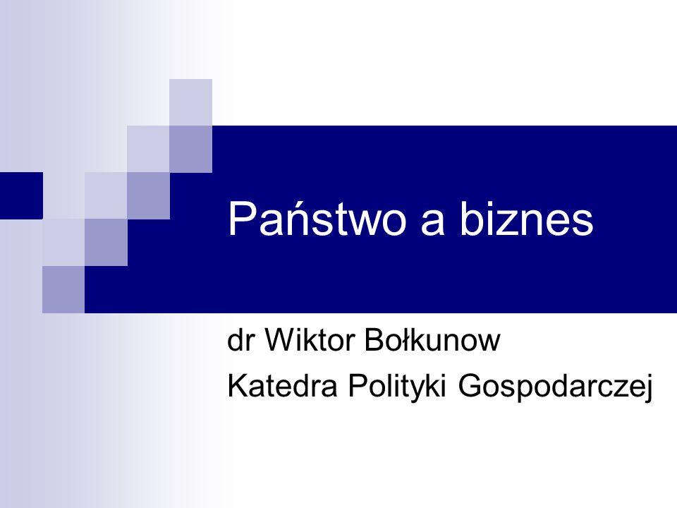Państwo a biznes dr Wiktor Bołkunow Katedra Polityki Gospodarczej