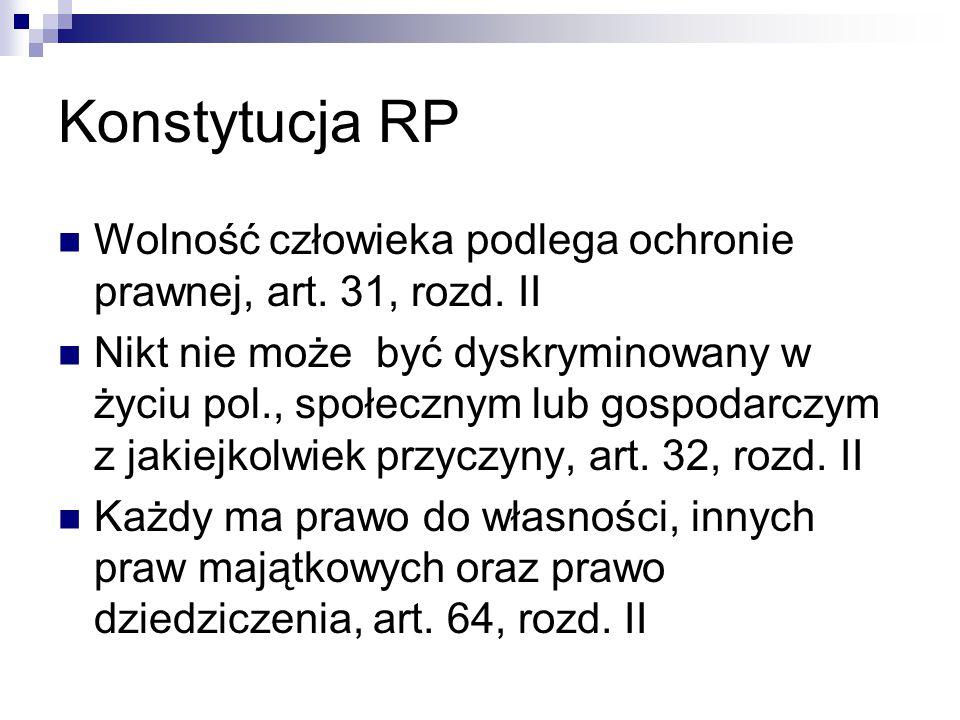Konstytucja RP Wolność człowieka podlega ochronie prawnej, art. 31, rozd. II Nikt nie może być dyskryminowany w życiu pol., społecznym lub gospodarczy