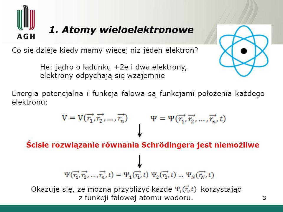 1. Atomy wieloelektronowe 3 Co się dzieje kiedy mamy więcej niż jeden elektron? He: jądro o ładunku +2e i dwa elektrony, elektrony odpychają się wzaje