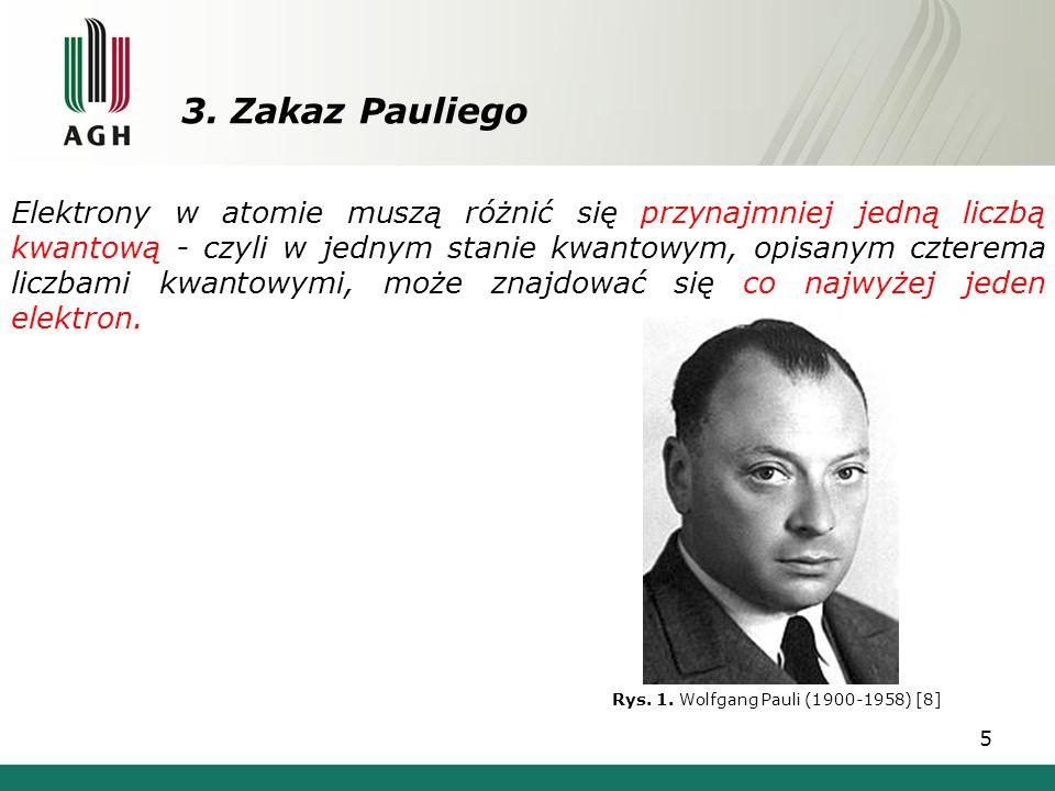 3. Zakaz Pauliego 5 Elektrony w atomie muszą różnić się przynajmniej jedną liczbą kwantową - czyli w jednym stanie kwantowym, opisanym czterema liczba