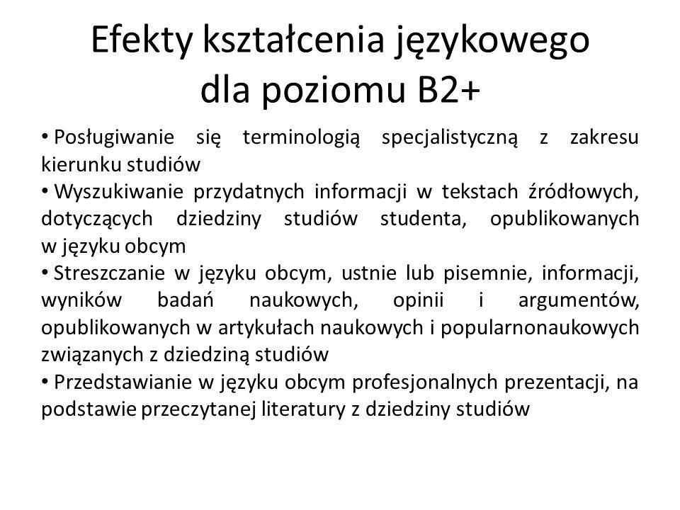 Efekty kształcenia językowego dla poziomu B2+ Posługiwanie się terminologią specjalistyczną z zakresu kierunku studiów Wyszukiwanie przydatnych inform
