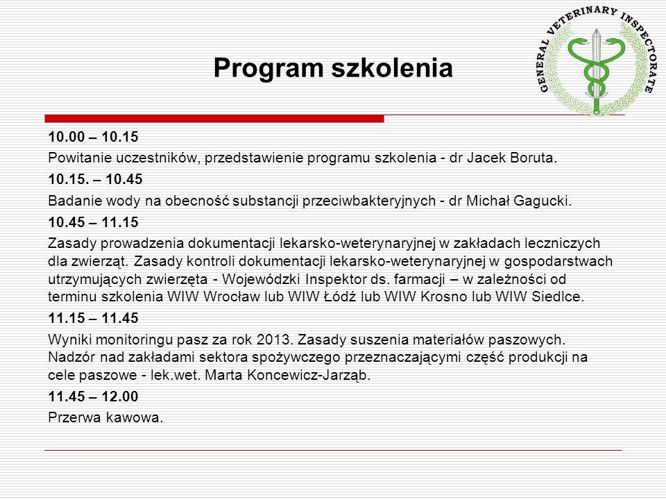 Program szkolenia 10.00 – 10.15 Powitanie uczestników, przedstawienie programu szkolenia - dr Jacek Boruta. 10.15. – 10.45 Badanie wody na obecność su