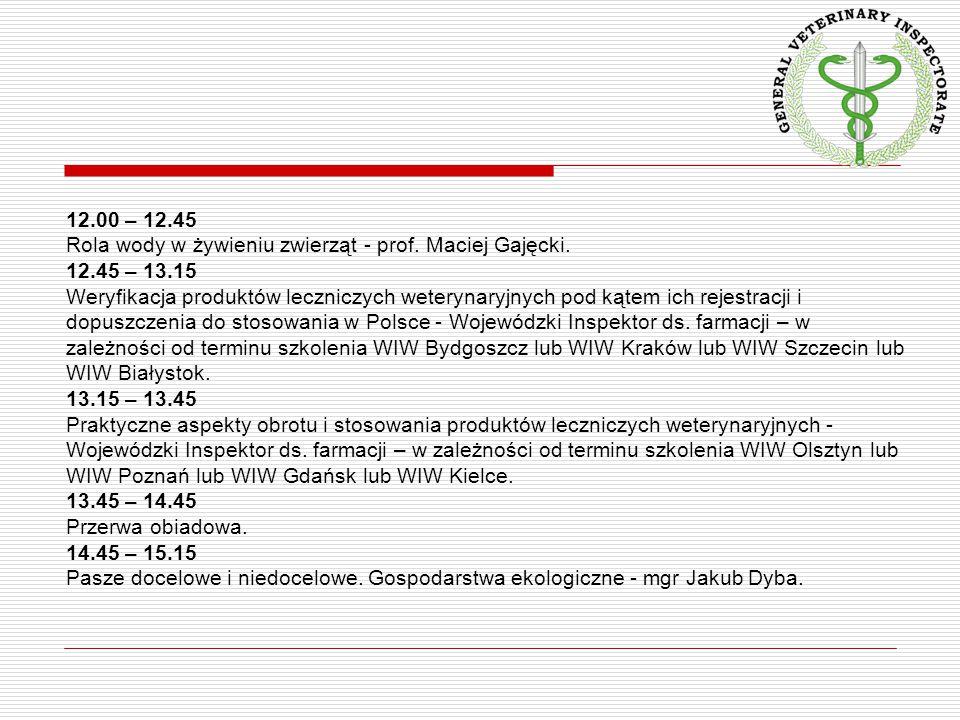 12.00 – 12.45 Rola wody w żywieniu zwierząt - prof. Maciej Gajęcki. 12.45 – 13.15 Weryfikacja produktów leczniczych weterynaryjnych pod kątem ich reje