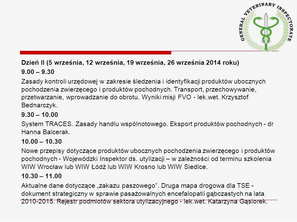 Dzień II (5 września, 12 września, 19 września, 26 września 2014 roku) 9.00 – 9.30 Zasady kontroli urzędowej w zakresie śledzenia i identyfikacji prod