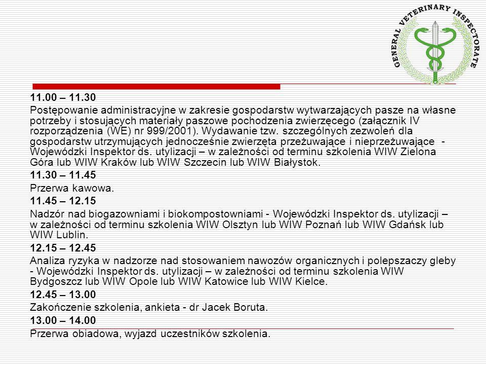 11.00 – 11.30 Postępowanie administracyjne w zakresie gospodarstw wytwarzających pasze na własne potrzeby i stosujących materiały paszowe pochodzenia