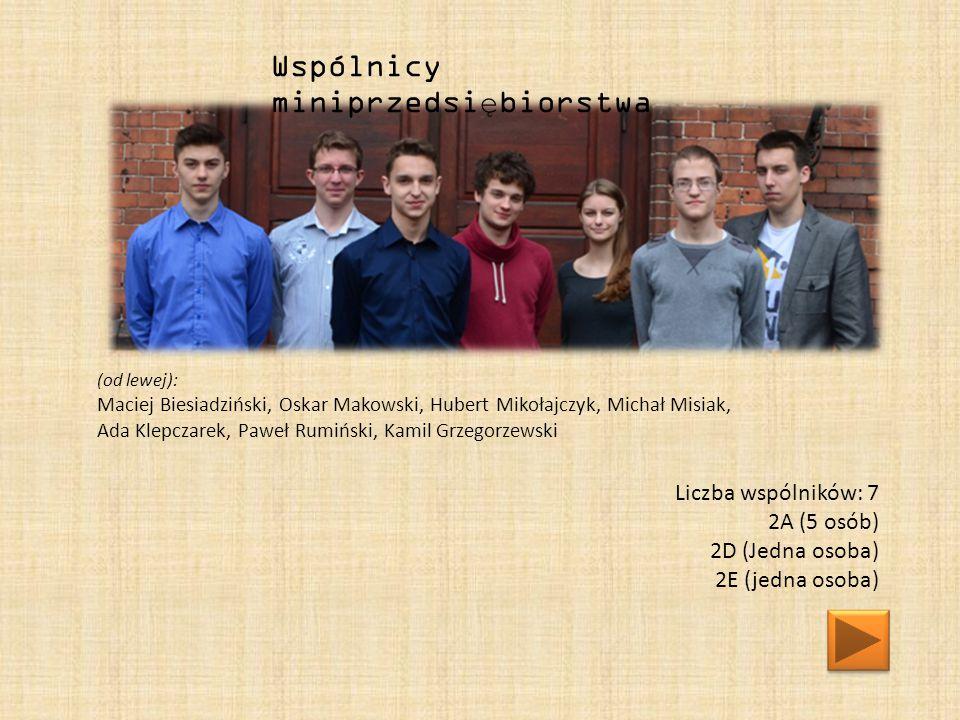 (od lewej): Maciej Biesiadziński, Oskar Makowski, Hubert Mikołajczyk, Michał Misiak, Ada Klepczarek, Paweł Rumiński, Kamil Grzegorzewski Wspólnicy miniprzedsiębiorstwa Liczba wspólników: 7 2A (5 osób) 2D (Jedna osoba) 2E (jedna osoba)