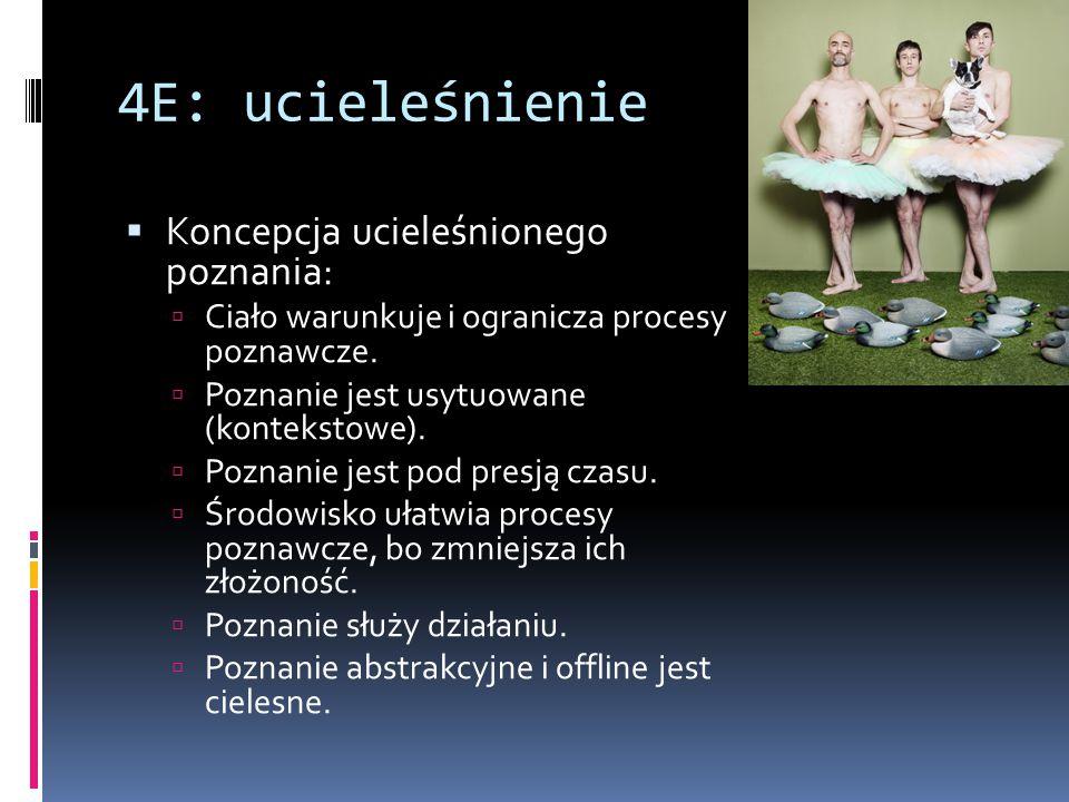 4E: ucieleśnienie  Koncepcja ucieleśnionego poznania:  Ciało warunkuje i ogranicza procesy poznawcze.  Poznanie jest usytuowane (kontekstowe).  Po