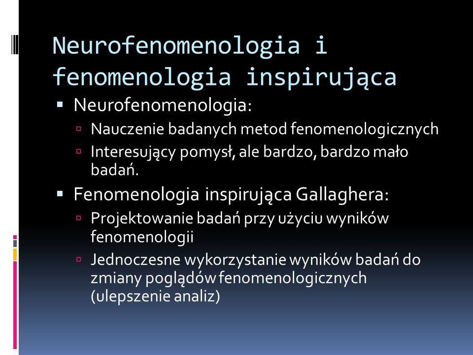 Neurofenomenologia i fenomenologia inspirująca  Neurofenomenologia:  Nauczenie badanych metod fenomenologicznych  Interesujący pomysł, ale bardzo,