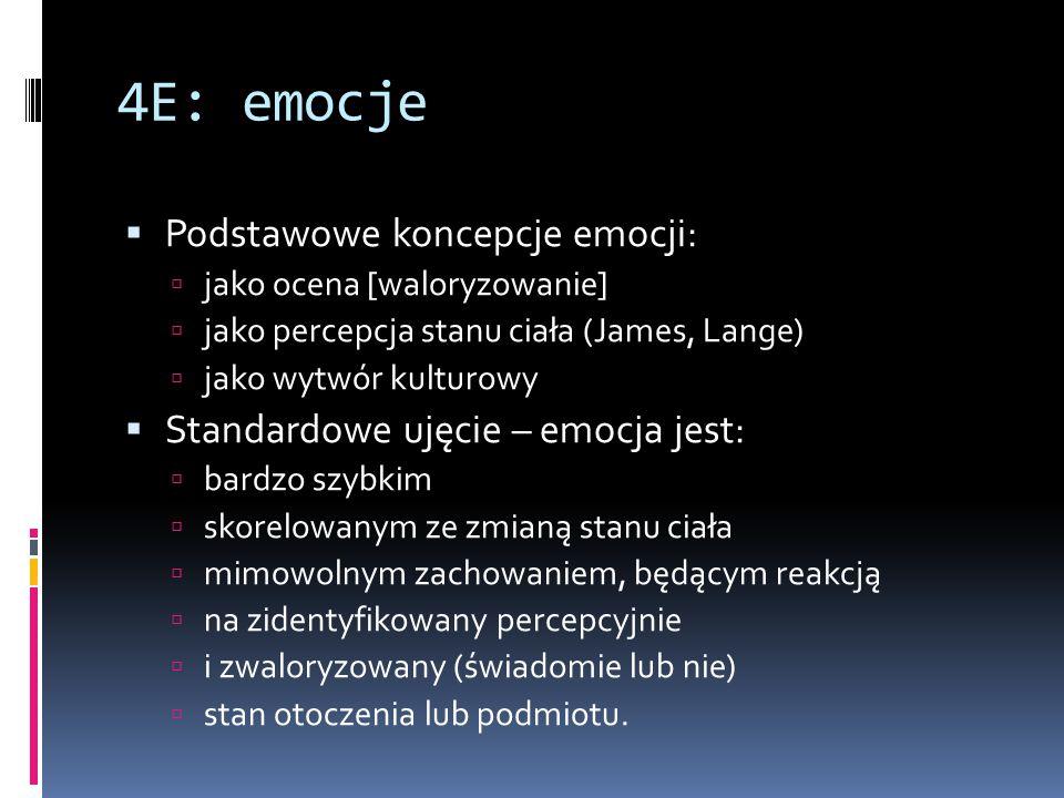 4E: emocje  Podstawowe koncepcje emocji:  jako ocena [waloryzowanie]  jako percepcja stanu ciała (James, Lange)  jako wytwór kulturowy  Standardo
