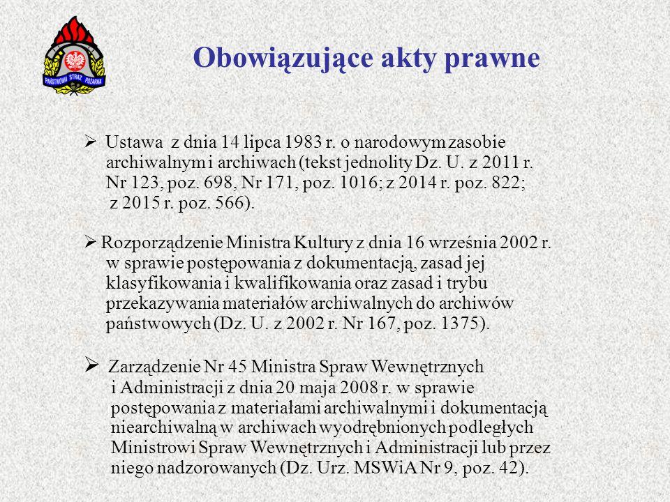 Obowiązujące akty prawne  Ustawa z dnia 14 lipca 1983 r. o narodowym zasobie archiwalnym i archiwach (tekst jednolity Dz. U. z 2011 r. Nr 123, poz. 6