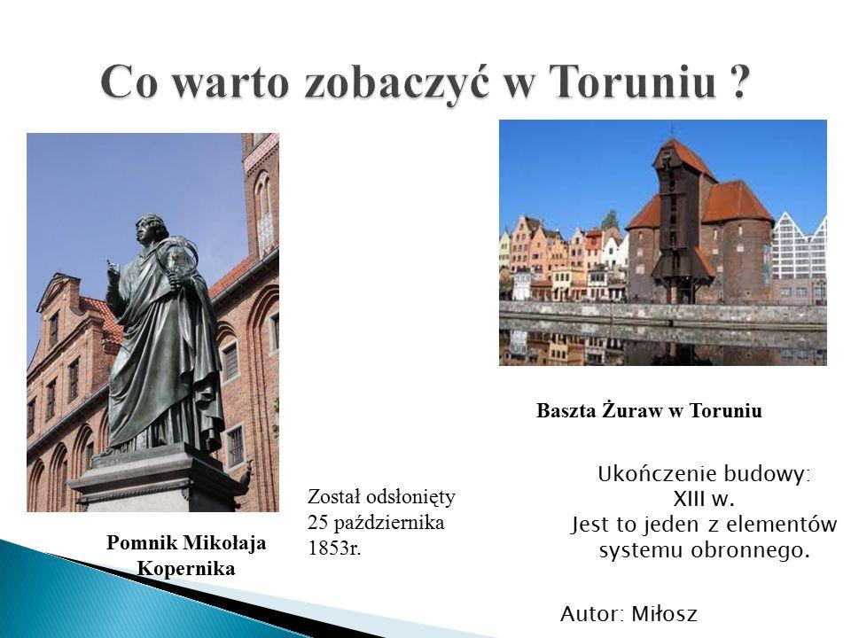 Pomnik Mikołaja Kopernika Został odsłonięty 25 października 1853r. Ukończenie budowy: XIII w. Jest to jeden z elementów systemu obronnego. Baszta Żura