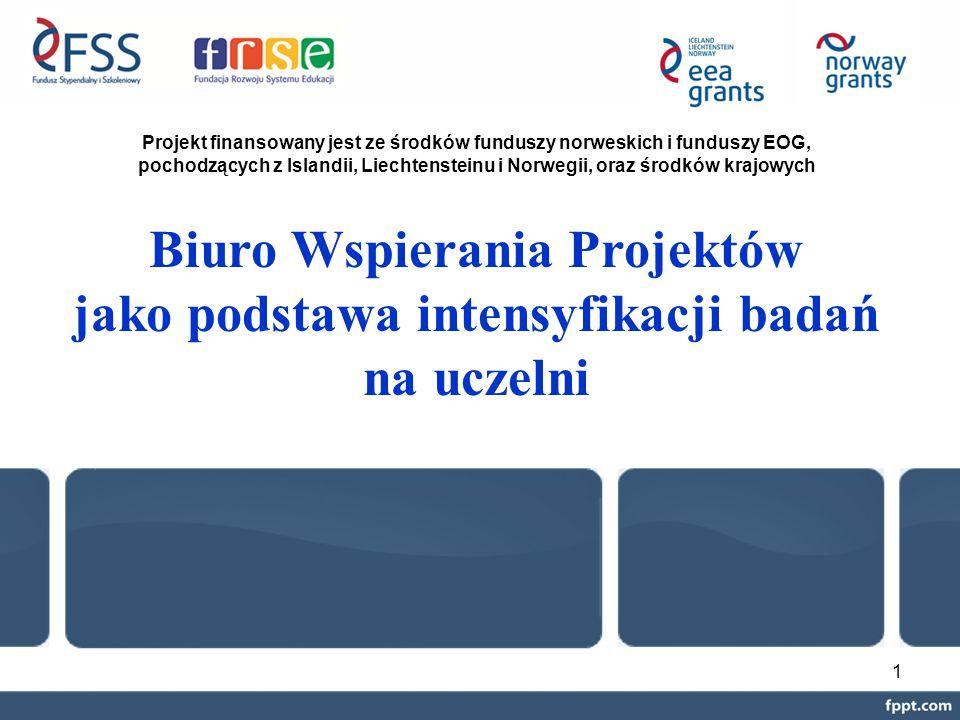 1 Biuro Wspierania Projektów jako podstawa intensyfikacji badań na uczelni Projekt finansowany jest ze środków funduszy norweskich i funduszy EOG, pochodzących z Islandii, Liechtensteinu i Norwegii, oraz środków krajowych