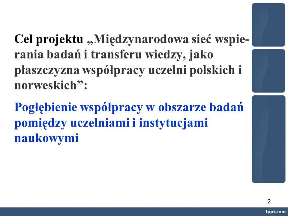 """2 Cel projektu """"Międzynarodowa sieć wspie- rania badań i transferu wiedzy, jako płaszczyzna współpracy uczelni polskich i norweskich : Pogłębienie współpracy w obszarze badań pomiędzy uczelniami i instytucjami naukowymi"""