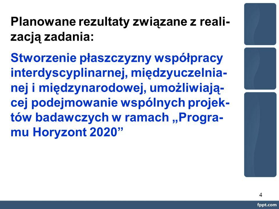"""4 Planowane rezultaty związane z reali- zacją zadania: Stworzenie płaszczyzny współpracy interdyscyplinarnej, międzyuczelnia- nej i międzynarodowej, umożliwiają- cej podejmowanie wspólnych projek- tów badawczych w ramach """"Progra- mu Horyzont 2020"""