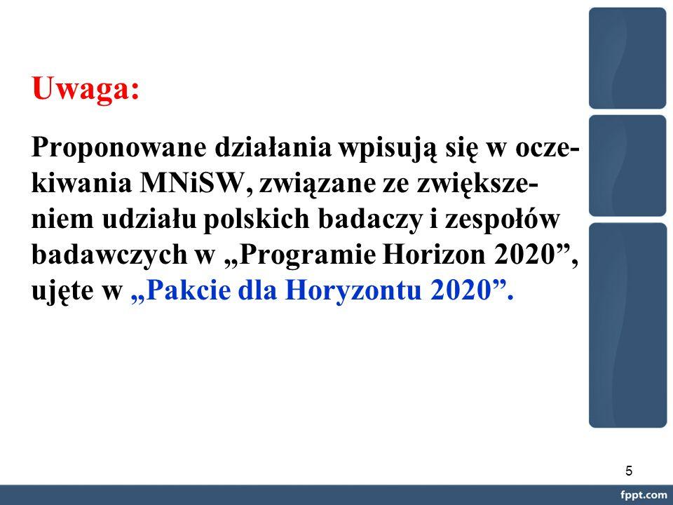"""5 Uwaga: Proponowane działania wpisują się w ocze- kiwania MNiSW, związane ze zwiększe- niem udziału polskich badaczy i zespołów badawczych w """"Programie Horizon 2020 , ujęte w """"Pakcie dla Horyzontu 2020 ."""
