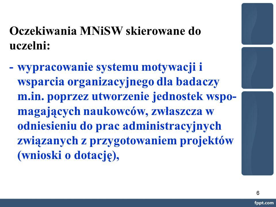 6 Oczekiwania MNiSW skierowane do uczelni: - wypracowanie systemu motywacji i wsparcia organizacyjnego dla badaczy m.in.