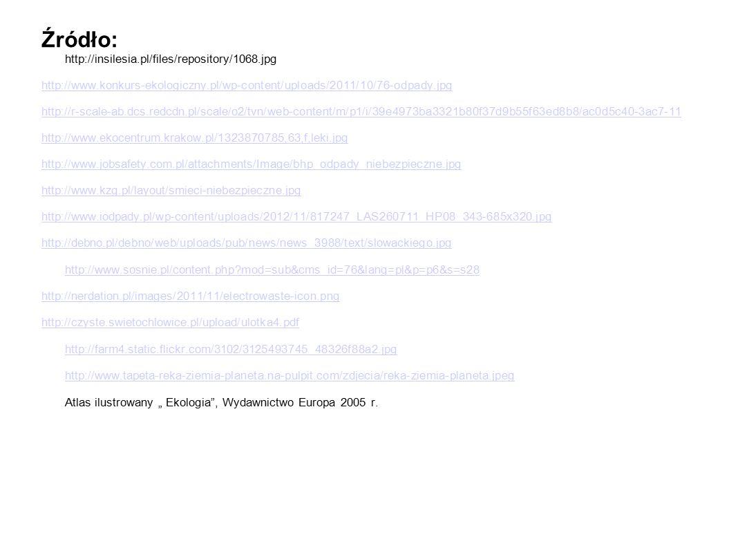"""Źródło: http://insilesia.pl/files/repository/1068.jpg http://www.konkurs-ekologiczny.pl/wp-content/uploads/2011/10/76-odpady.jpg http://r-scale-ab.dcs.redcdn.pl/scale/o2/tvn/web-content/m/p1/i/39e4973ba3321b80f37d9b55f63ed8b8/ac0d5c40-3ac7-11 http://www.ekocentrum.krakow.pl/1323870785,63,f,leki.jpg http://www.jobsafety.com.pl/attachments/Image/bhp_odpady_niebezpieczne.jpg http://www.kzg.pl/layout/smieci-niebezpieczne.jpg http://www.iodpady.pl/wp-content/uploads/2012/11/817247_LAS260711_HP08_343-685x320.jpg http://debno.pl/debno/web/uploads/pub/news/news_3988/text/slowackiego.jpg http://www.sosnie.pl/content.php?mod=sub&cms_id=76&lang=pl&p=p6&s=s28 http://nerdation.pl/images/2011/11/electrowaste-icon.png http://czyste.swietochlowice.pl/upload/ulotka4.pdf http://farm4.static.flickr.com/3102/3125493745_48326f88a2.jpg http://www.tapeta-reka-ziemia-planeta.na-pulpit.com/zdjecia/reka-ziemia-planeta.jpeg http://czyste.swietochlowice.pl/upload/ulotka4.pdf http://farm4.static.flickr.com/3102/3125493745_48326f88a2.jpg http://www.tapeta-reka-ziemia-planeta.na-pulpit.com/zdjecia/reka-ziemia-planeta.jpeg Atlas ilustrowany """" Ekologia , Wydawnictwo Europa 2005 r."""