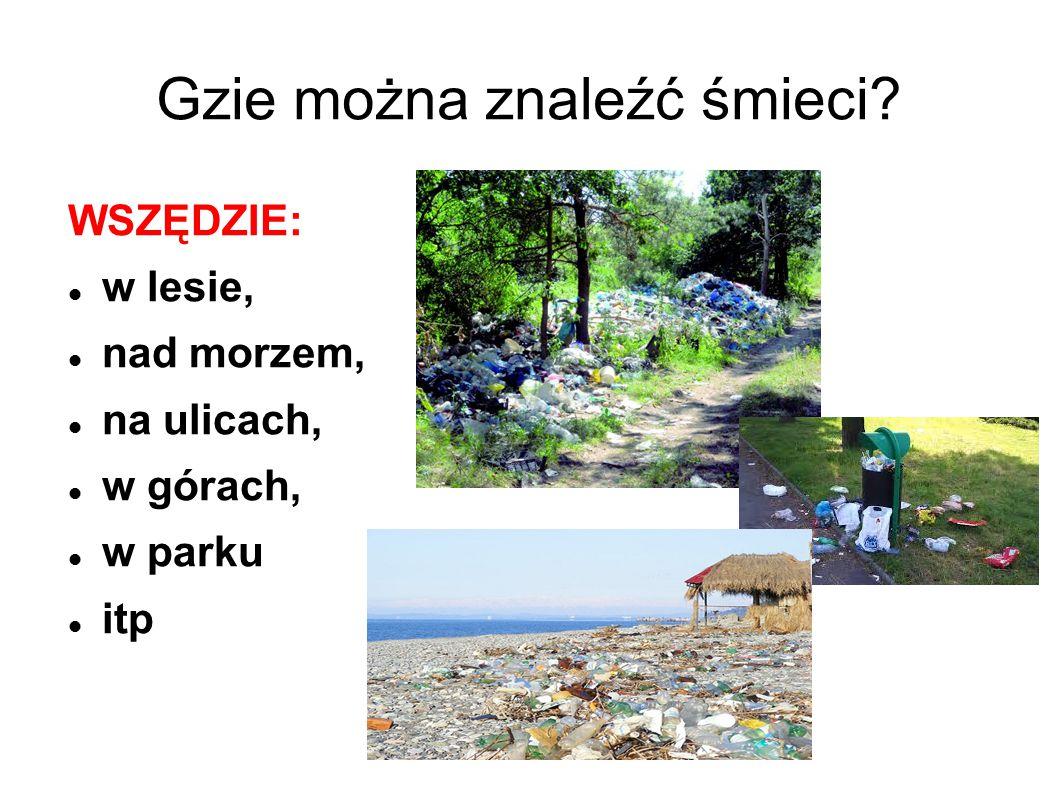 Gzie można znaleźć śmieci? WSZĘDZIE: w lesie, nad morzem, na ulicach, w górach, w parku itp