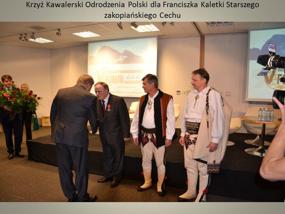 Krzyż Kawalerski Odrodzenia Polski dla Franciszka Kaletki Starszego zakopiańskiego Cechu