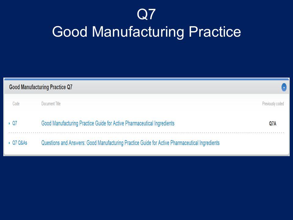 Q7 Good Manufacturing Practice