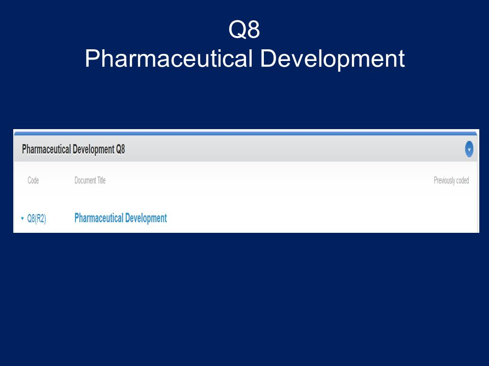 Q8 Pharmaceutical Development