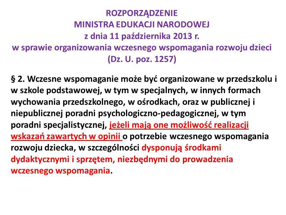 ROZPORZĄDZENIE MINISTRA EDUKACJI NARODOWEJ z dnia 11 października 2013 r. w sprawie organizowania wczesnego wspomagania rozwoju dzieci (Dz. U. poz. 12
