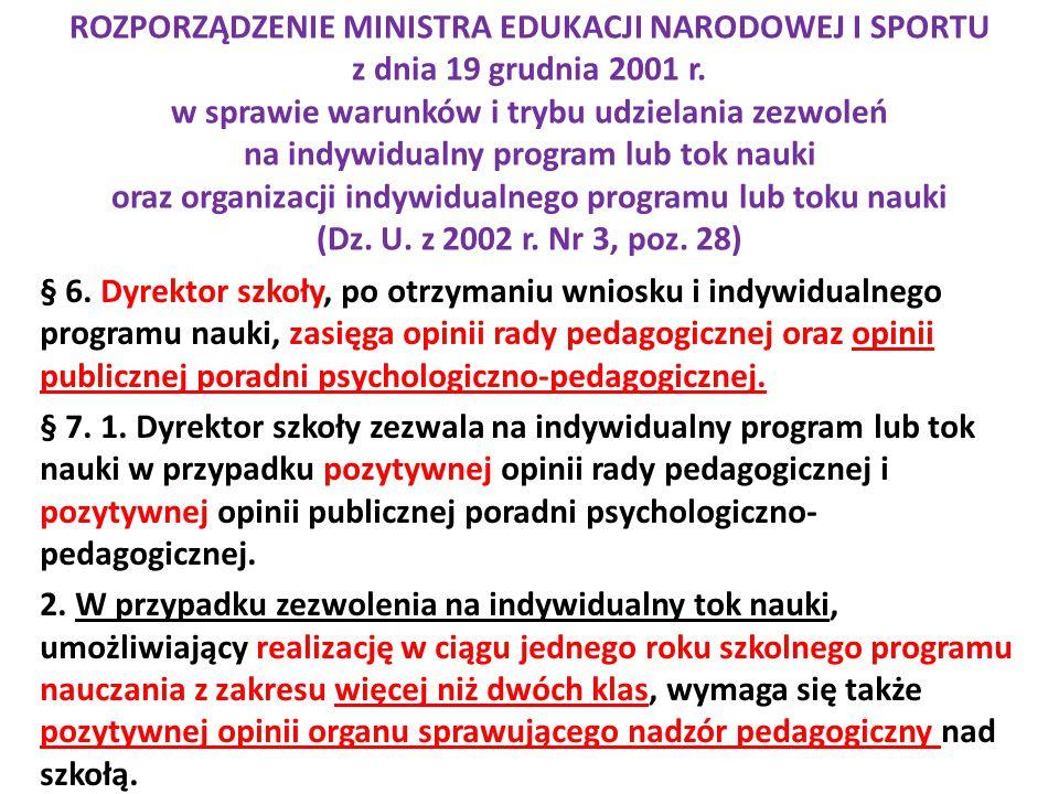 ROZPORZĄDZENIE MINISTRA EDUKACJI NARODOWEJ I SPORTU z dnia 19 grudnia 2001 r. w sprawie warunków i trybu udzielania zezwoleń na indywidualny program l