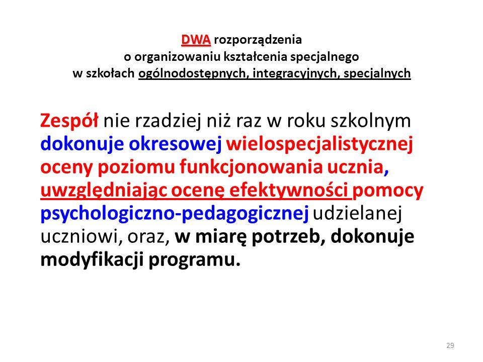 DWA DWA rozporządzenia o organizowaniu kształcenia specjalnego w szkołach ogólnodostępnych, integracyjnych, specjalnych Zespół nie rzadziej niż raz w