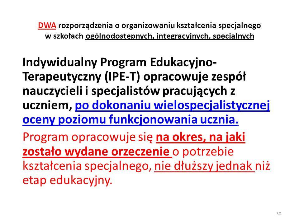 DWA rozporządzenia o organizowaniu kształcenia specjalnego w szkołach ogólnodostępnych, integracyjnych, specjalnych Indywidualny Program Edukacyjno- T