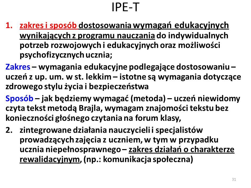 IPE-T 1.zakres i sposób dostosowania wymagań edukacyjnych wynikających z programu nauczania do indywidualnych potrzeb rozwojowych i edukacyjnych oraz