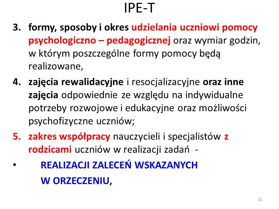 IPE-T 3.formy, sposoby i okres udzielania uczniowi pomocy psychologiczno – pedagogicznej oraz wymiar godzin, w którym poszczególne formy pomocy będą r