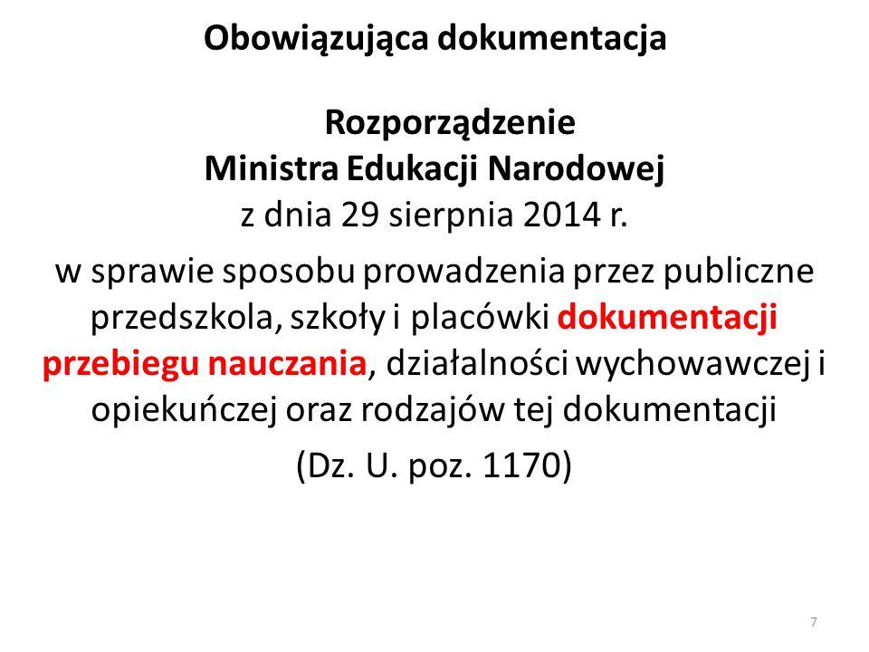 Obowiązująca dokumentacja Rozporządzenie Ministra Edukacji Narodowej z dnia 29 sierpnia 2014 r. w sprawie sposobu prowadzenia przez publiczne przedszk