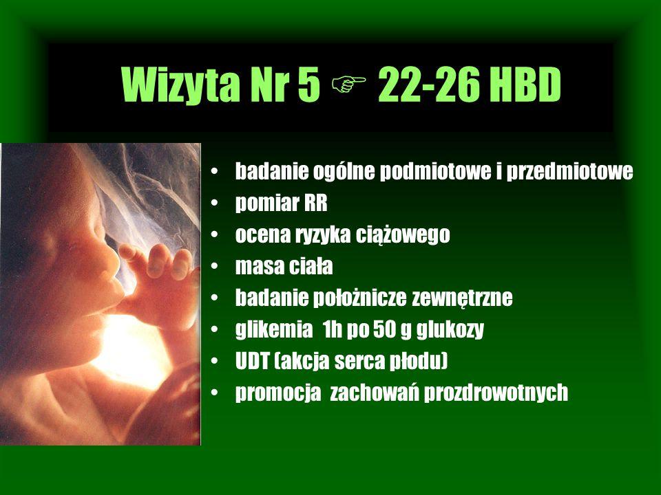 Wizyta Nr 1 badanie ogólne podmiotowe i przedmiotowe pomiar RR ocena ryzyka ciążowego masa ciała badanie położnicze zewnętrzne glikemia 1h po 50 g glu