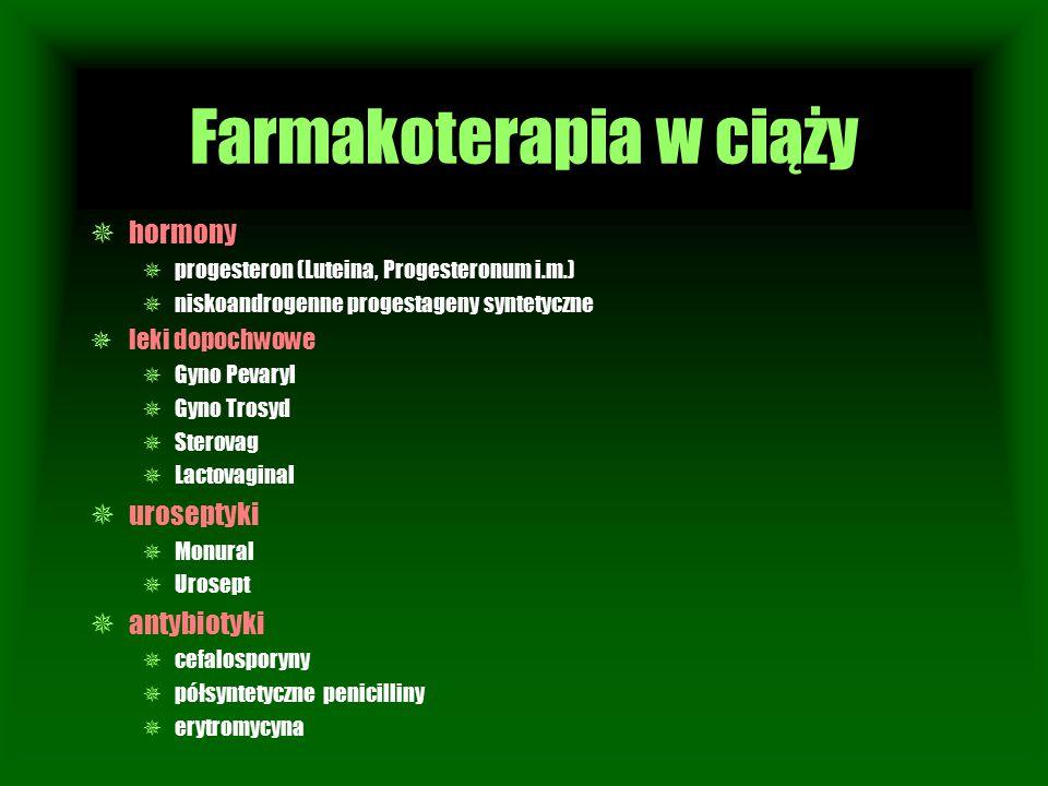 Farmakoterapia w ciąży  hormony  progesteron (Luteina, Progesteronum i.m.)  niskoandrogenne progestageny syntetyczne  leki dopochwowe  Gyno Pevar