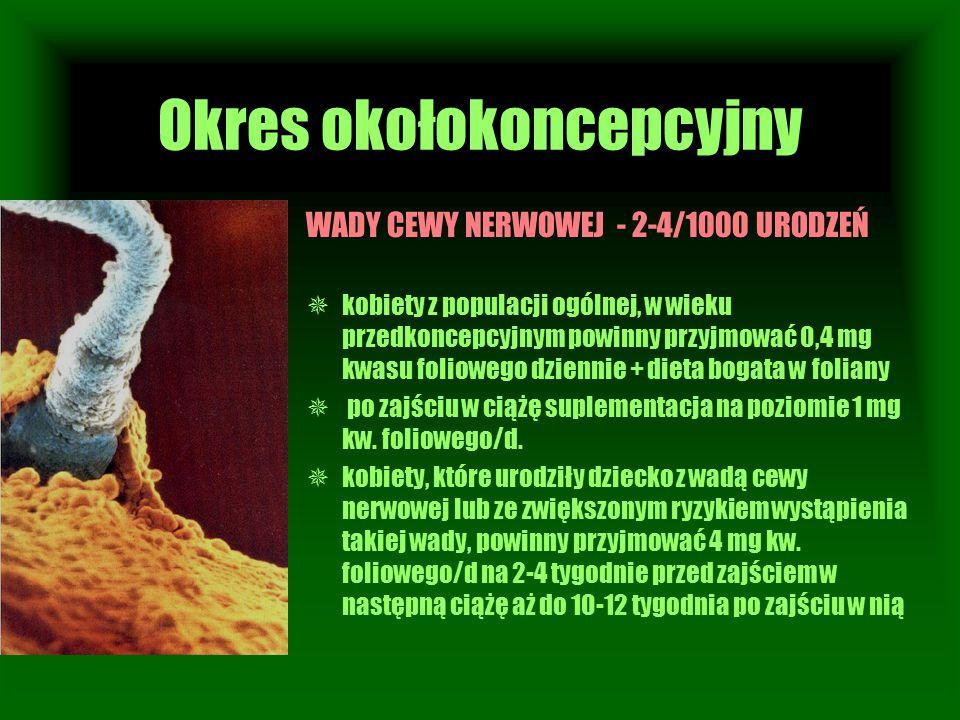 Okres okołokoncepcyjny WADY CEWY NERWOWEJ - 2-4/1000 URODZEŃ  kobiety z populacji ogólnej, w wieku przedkoncepcyjnym powinny przyjmować 0,4 mg kwasu