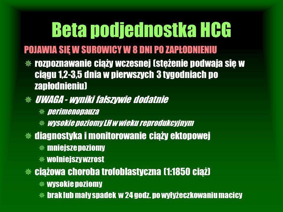 Beta podjednostka HCG POJAWIA SIĘ W SUROWICY W 8 DNI PO ZAPŁODNIENIU  rozpoznawanie ciąży wczesnej (stężenie podwaja się w ciągu 1,2-3,5 dnia w pierw
