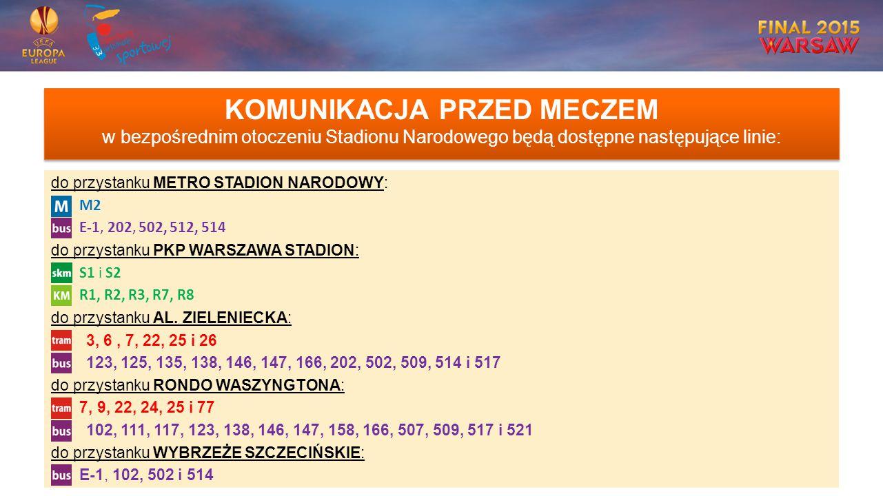 KOMUNIKACJA PRZED MECZEM w bezpośrednim otoczeniu Stadionu Narodowego będą dostępne następujące linie: do przystanku METRO STADION NARODOWY: M2 E-1, 202, 502, 512, 514 do przystanku PKP WARSZAWA STADION: S1 i S2 R1, R2, R3, R7, R8 do przystanku AL.