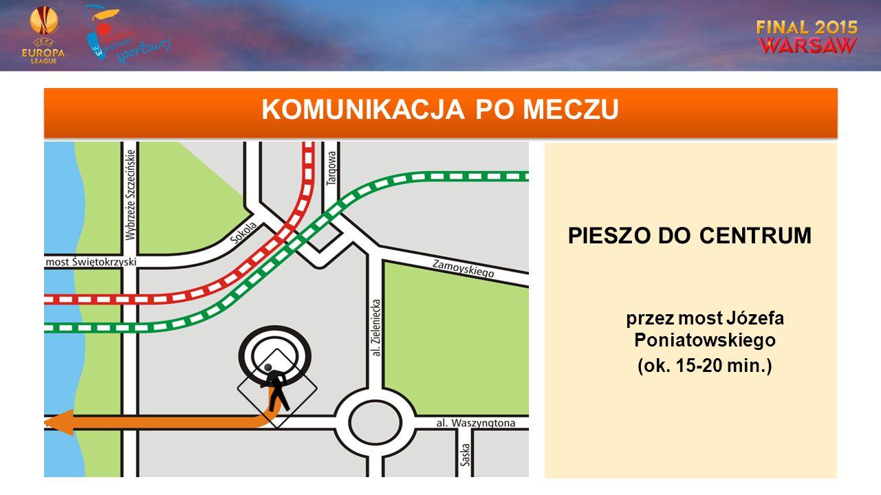 KOMUNIKACJA PO MECZU PIESZO DO CENTRUM przez most Józefa Poniatowskiego (ok. 15-20 min.)