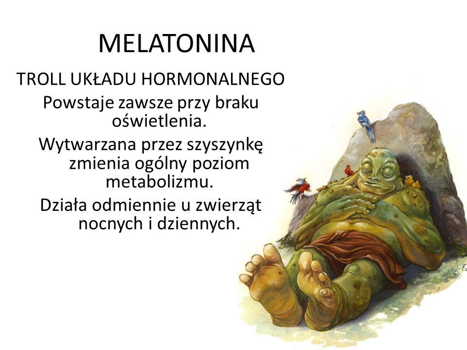 MELATONINA TROLL UKŁADU HORMONALNEGO Powstaje zawsze przy braku oświetlenia. Wytwarzana przez szyszynkę zmienia ogólny poziom metabolizmu. Działa odmi